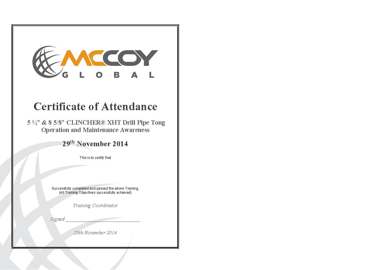 Certificate Of Attendance 1 Mccoy Global Inc